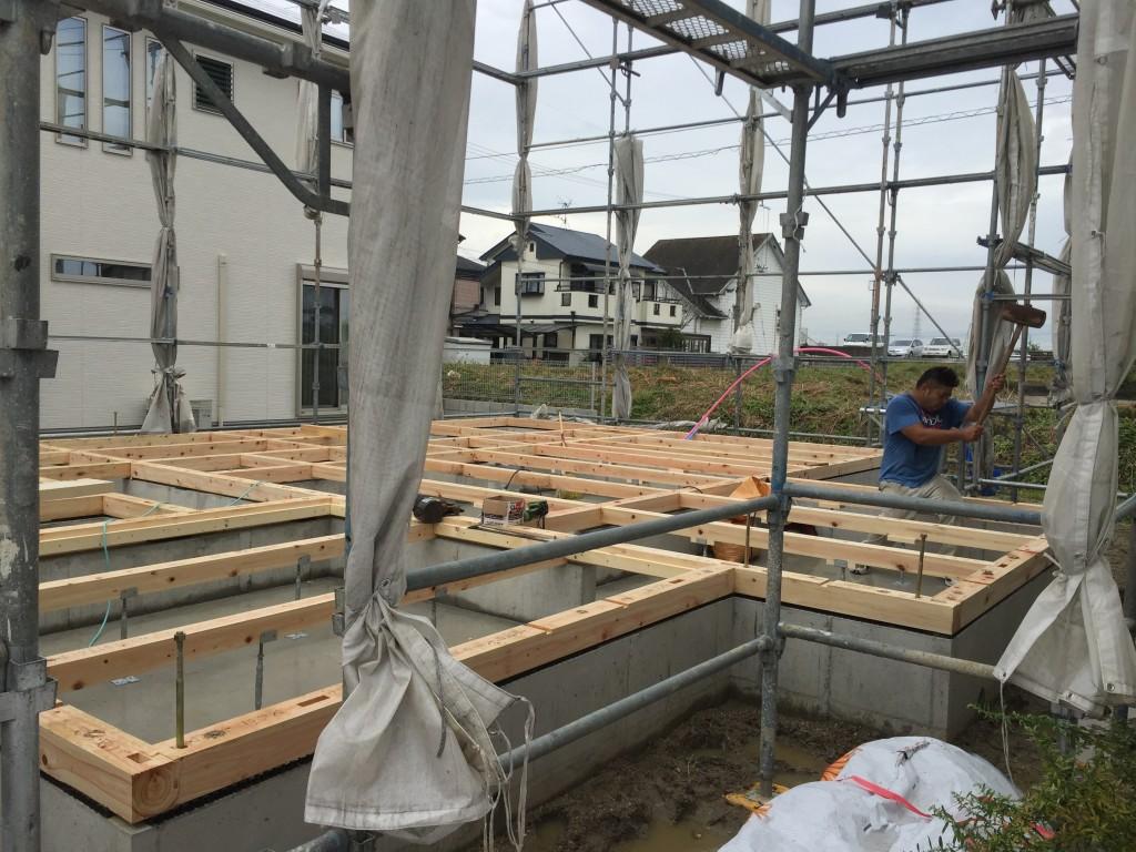 広陵町注文住宅の土台引き工事中です。