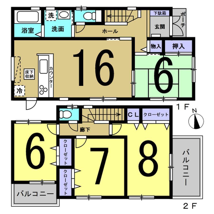 斑鳩町 龍田北 新築 2号棟 2080万円(間取)