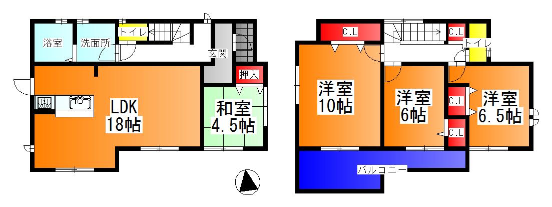 広陵町 大野 新築 2号棟 2480万円(間取)