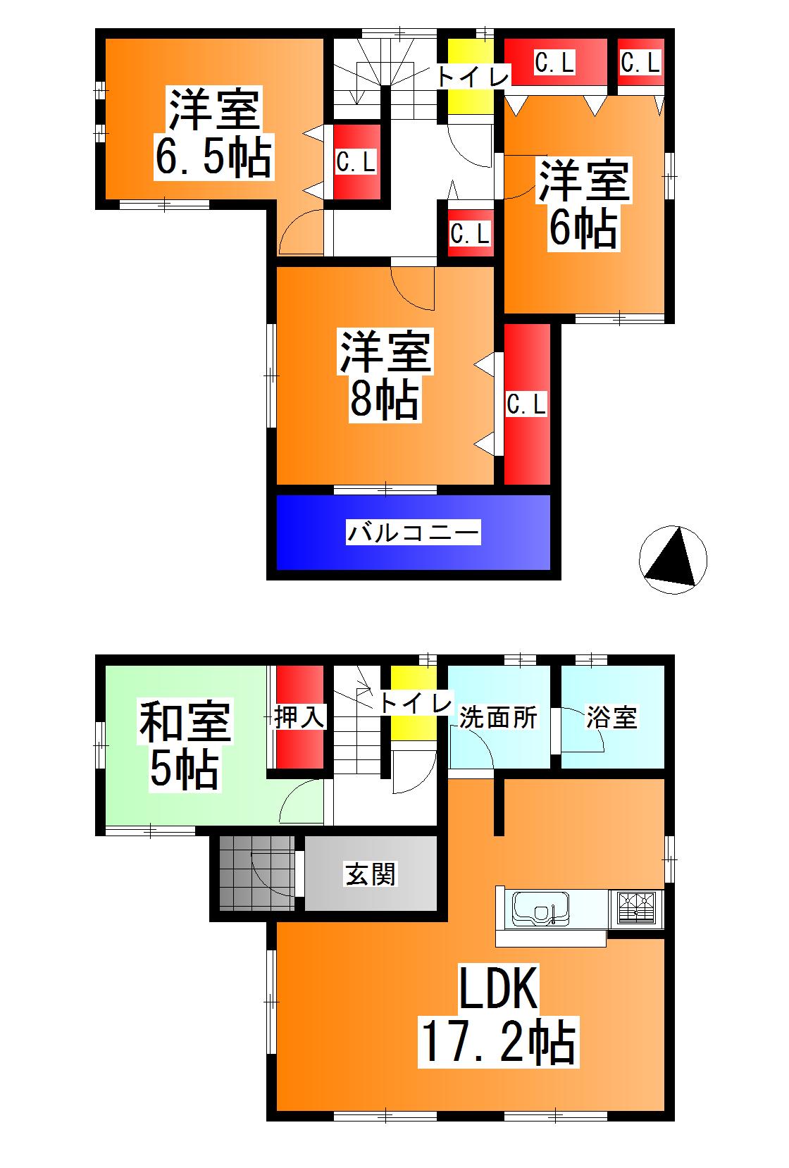 河合町 池部 新築 3号棟 2180万円(間取)