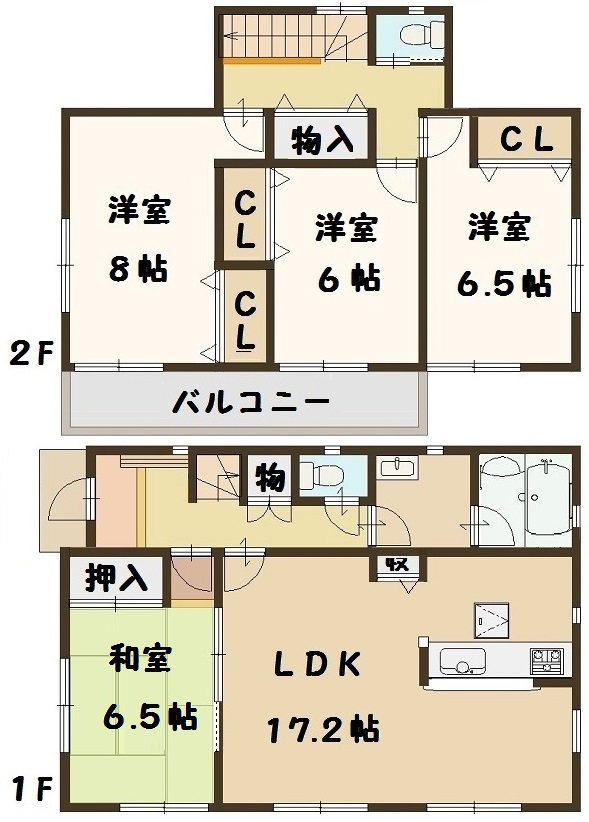 広陵町 中 6号棟 2290万円(間取)