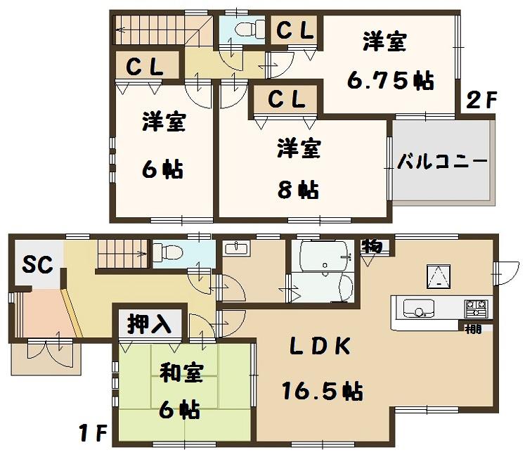 野垣内町 2号棟 2980万円 間取り図