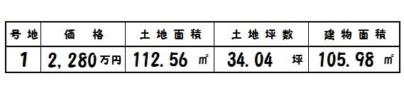 二階堂上ノ庄町 新築 1号棟 2280万円