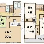香芝市 下田東 1号棟 2080万円(間取)