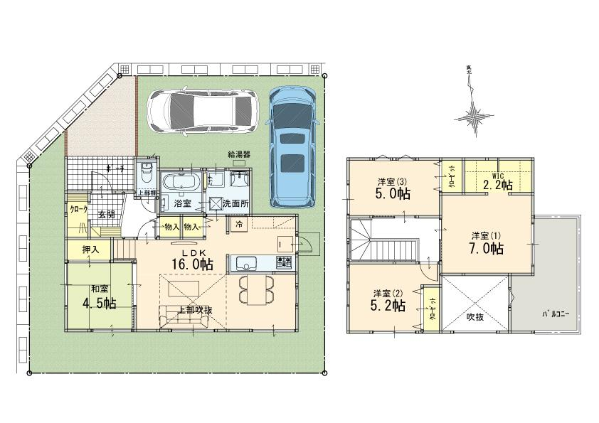三室 新築 角地 1号棟 建物 4LDK