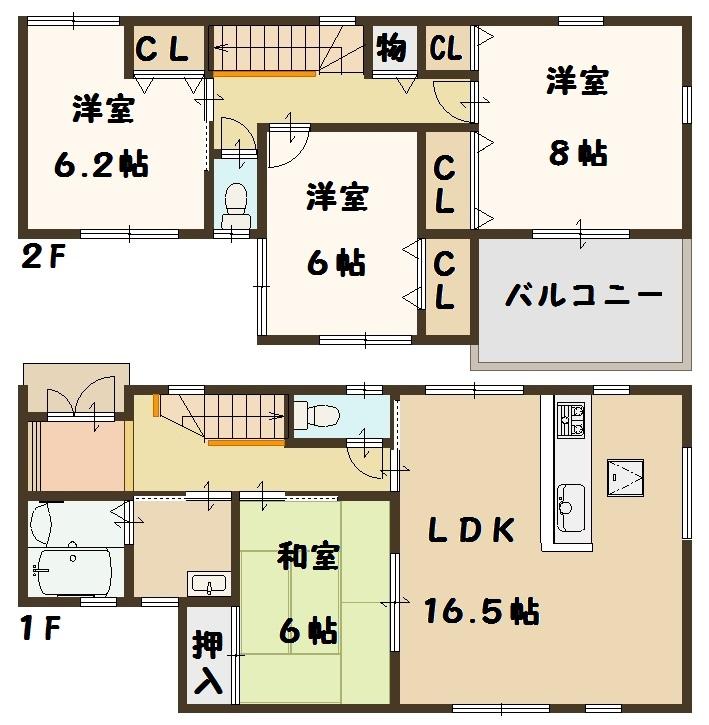 斑鳩町 龍田北 新築 販売価格 1880万円~(間取)
