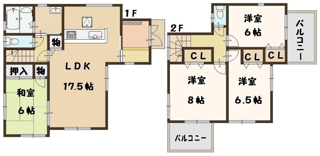 香芝市 下田東 1号棟 2580万円(間取)