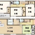 奈良県 斑鳩町 龍田 新築 1号棟 間取り図面