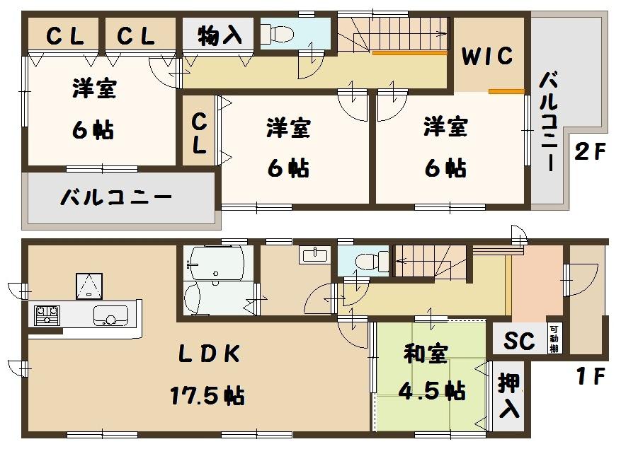 奈良県 斑鳩町 龍田 新築 2号棟 間取り図面