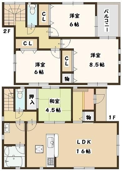大和高田市 中三倉堂 新築 1号棟 1880万円(間取)