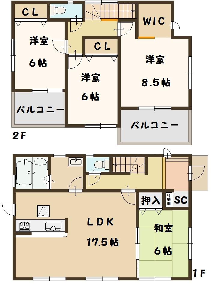 奈良県 広陵町 三吉 斉音寺 新築 2号棟 4LDK 間取り図面