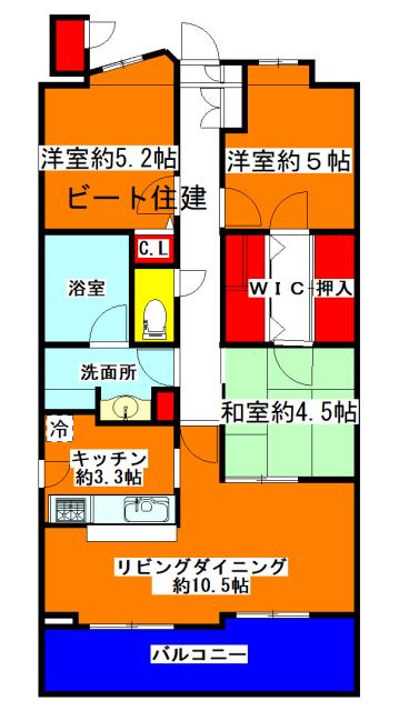 間取り図カラー 株式会社ビート住建201712232300