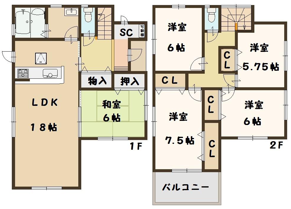 奈良県 広陵町 三吉 斉音寺 新築 1号棟 5LDK 間取り図面
