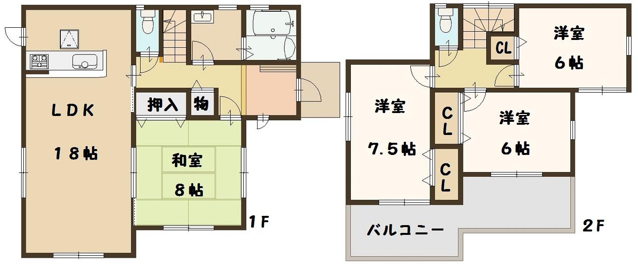 広陵町 大野 新築 2号棟 間取り図面 建物 飯田グループ 一建設 高級仕様