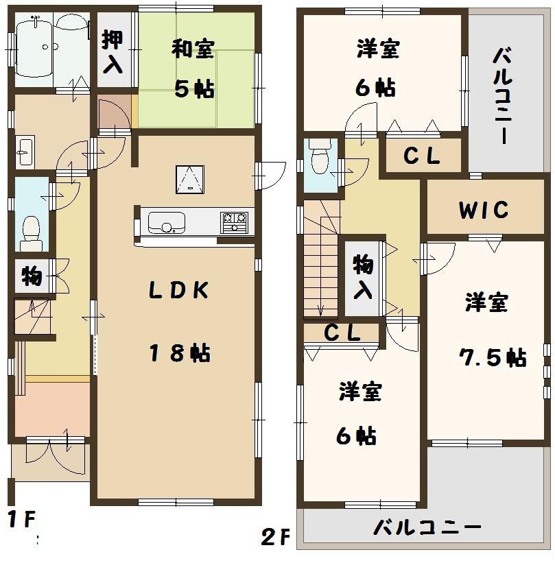 天理市 二階堂上ノ庄町 全3棟 2号棟 2730万円 タクトホーム