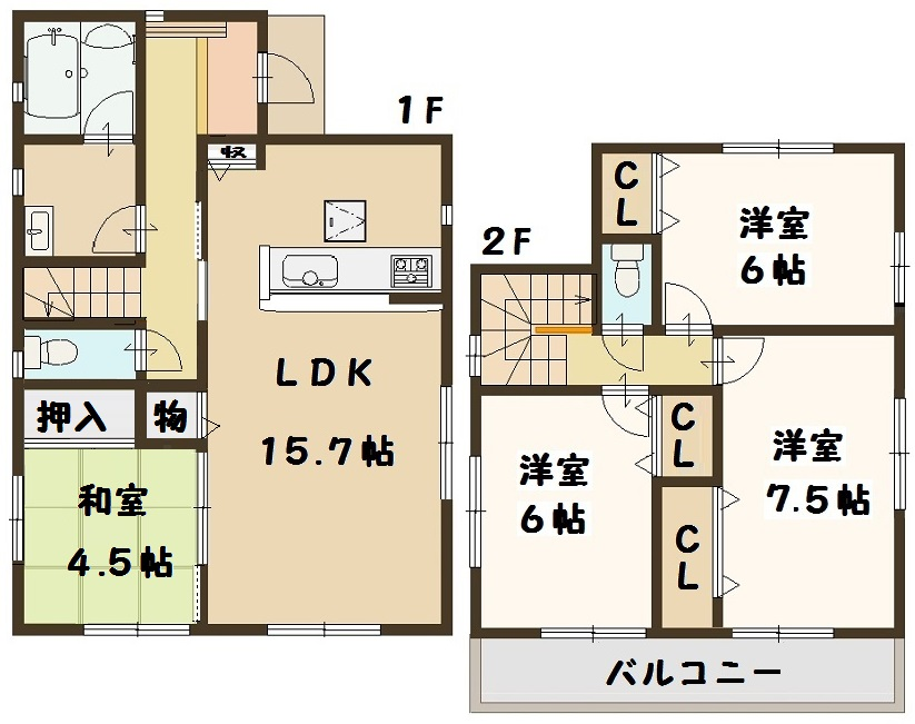 香芝市 鎌田 新築 2号棟 間取り図