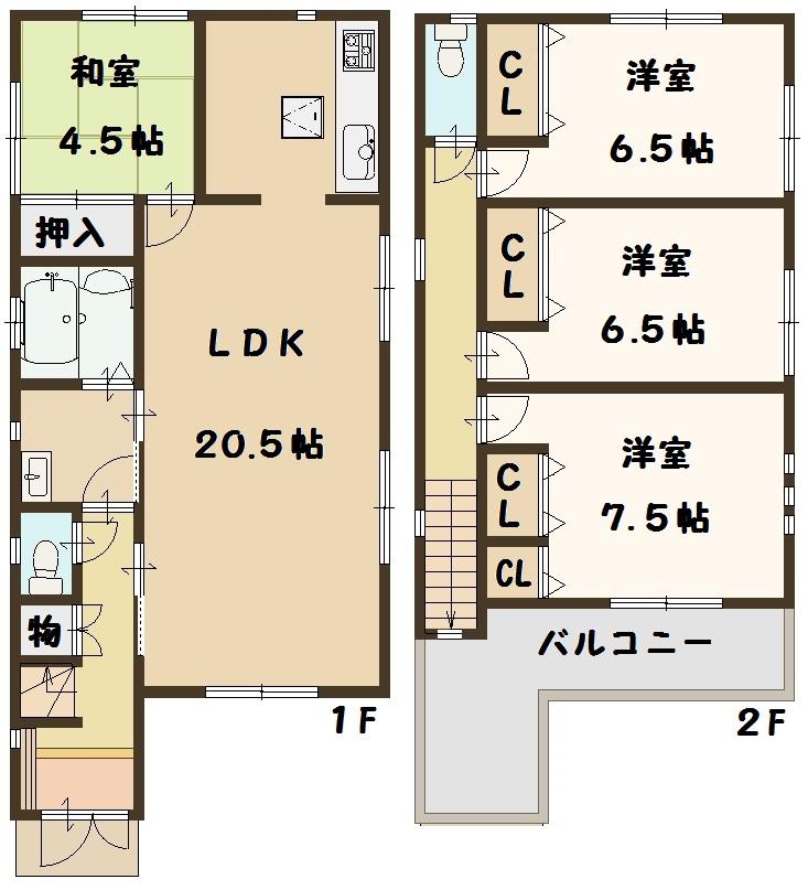 天理市 二階堂上ノ庄町 全3棟 2号棟 2680万円 タクトホーム