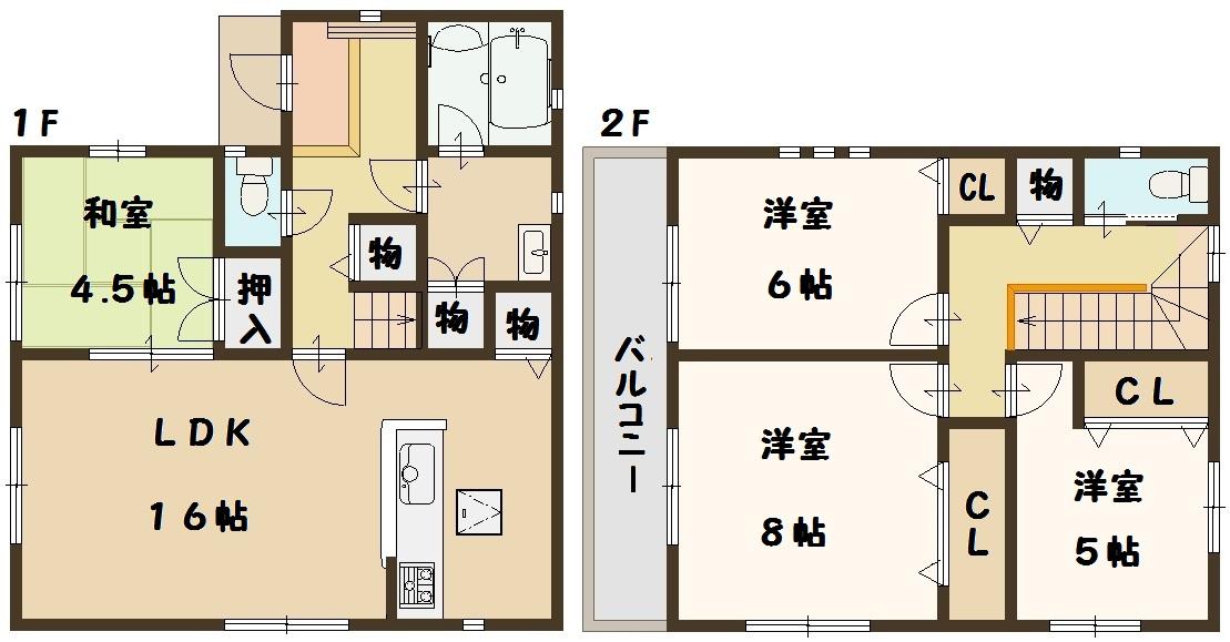 香芝市 下田東 新築 2号棟 間取り図