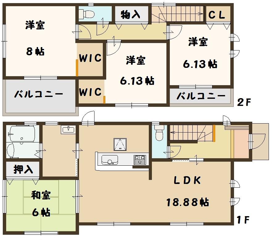 奈良県 斑鳩町 龍田西 新築 1号棟 間取り図面
