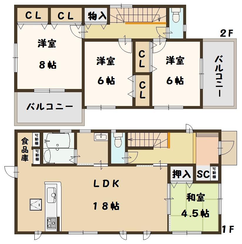 奈良県 斑鳩町 龍田西 新築 2号棟 間取り図面