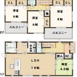奈良県 斑鳩町 龍田西 新築 4号棟 間取り図面